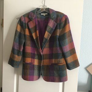 Orange and Pink Plaid Blazer Cabi style 927